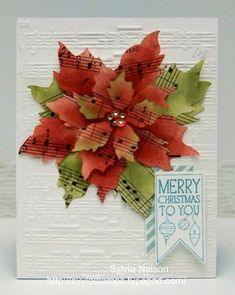 christma card, music flower, paper, music stamp