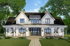 Modern Farmhouse Plan with French Door Greeting - 14679RK | Architectural Designs - House Plans