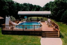 Semi Inground Pools with Green Scenery: Semi Inground Pools With Wooden Deck ~ housefashions.net All About Ideas Inspiration