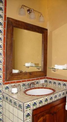 New mexico bathroom on pinterest mediterranean bathroom mexican home decor and mexican tiles - Bathroom tiles talavera ...