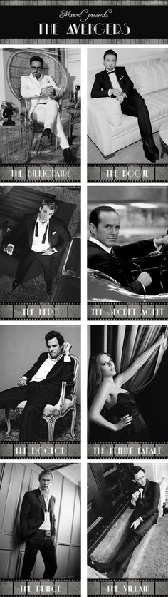 Old Hollywood Avengers: A little black tie, a little witty repartee...and a lot of explosions. marvel, loki, hollywood aveng, films, film noir, fandom, superhero, tom hiddleston, the avengers