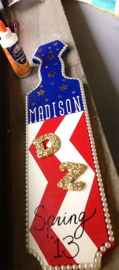 Delta zeta red white and blue paddle idea #diy #greek #gifts