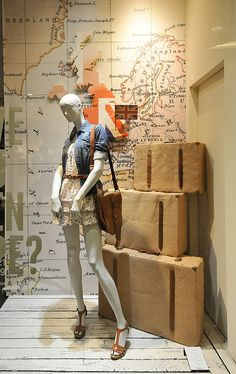 Pepe Jeans London window displays Summer 2012, Budapest store design.  Love incorporating old maps. Summer road trip.