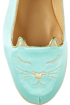 The Fairy-Tale Find   Charlotte Olympia Cat Nap embroidered satin slippers
