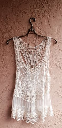 Bohemian Lace and crochet sheer mesh beach camisole coverup gypsy hippie boho chic wedding