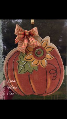 Fall Burlap Door Hanger, Pumpkin with sunflower, chevron bow