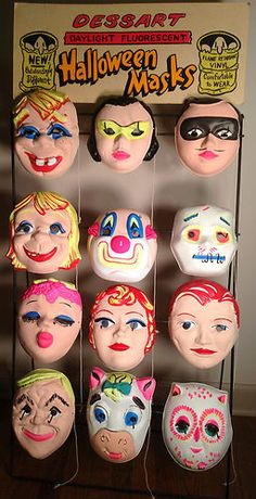 Halloween Display Sign 16 Vintage Dessart Unused Masks 50's 60's