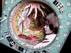 artists, rabbit hole, rabbits, alice in wonderland, art journals, ingrid dijker, altered books, alter book, tunnel book