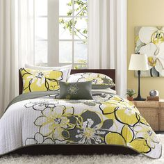love for grey and yellow master bedroom