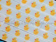3 yards 3/8 Ducky Tub bubles Splish splash white Grosgrain Ribbon blue yellow Scrap booking Baby Shower invitations hair bows party Duck. $3.95, via Etsy.