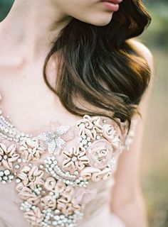 blush wedding dress via Feather and Stone Photography