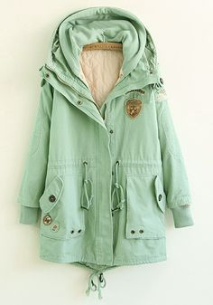 mint green, drawstr cotton, cotton blend, fashionable winter coats, trench coats, pad coat, green plain, blend pad, spring style