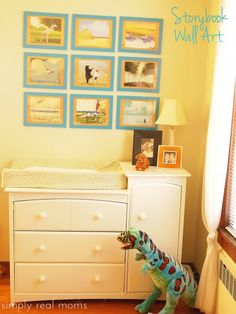 Absolutely love this idea for storybook wall art in the kiddoes' rooms. So easy to do! I wish I had thought of it ages ago!