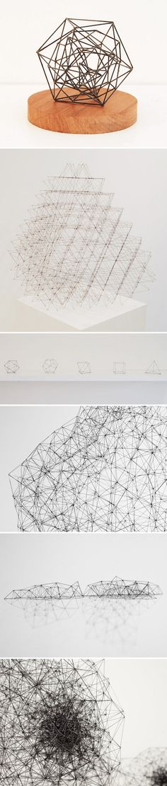 <3 sculptures made from tiny little PENCIL LEADS!... by peter trevelyan