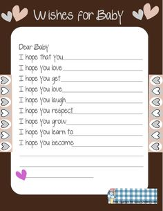 baby shower games | Free Printable Baby Shower Wishes for the Baby Game