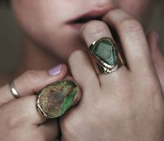 rings. statement rings, color, green, natural stones, rock, boho, finger, random stuff, bohemian
