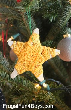 Popsicle Stick Star Christmas Ornaments