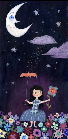 """""""There is just one moon"""" illustration by Brigette Barrage."""
