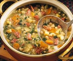 Comfort food! Ham and bean soup takes on a new look with the colorful addition of parsnips, carrots, and spinach.