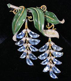 Trifari Enamel Rhinestone Flower Brooch Wisteria