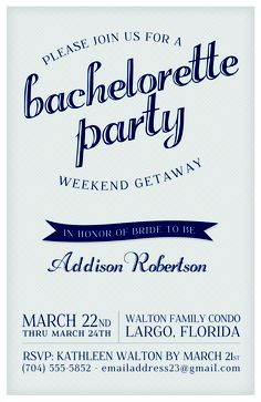 Bachelorette Party Invites - Customize your invites with this free .psd download.