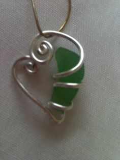 heart wire wrapped sea glass.