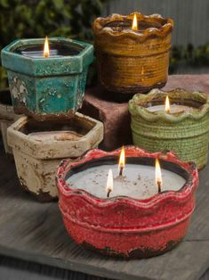 Swan Creek Candles Ruffled Pottery Collection. Love them!