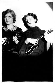 ukulele duet in black and white