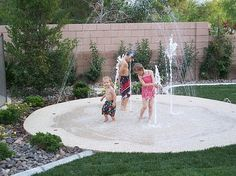 Backyard splash pad. No up keep. Small footprint. Cheaper than a pool. Safer than a pool. In the winter put a fire pit and chairs on it. Pretty cool idea idea, small footprint, pool, outdoor, splash pad, garden, backyards, kid, backyard splash