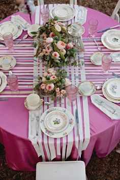 Pretty table runners for vintage china.