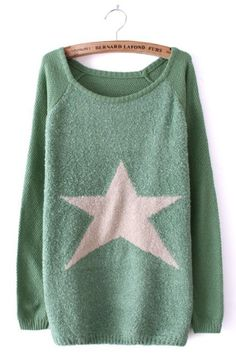 Green Long Sleeve Star Embellished Pullovers Sweater