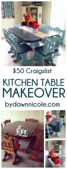 Before & After: $50 Craigslist Kitchen Table Makeover | byDawnNicole.com