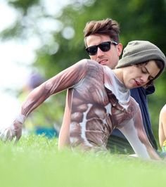 Harry Styles in a full bodysuit with Nick Grimshaw