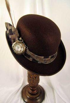 Steampunk Men's Brown Derby Hat with Pocket Watch....