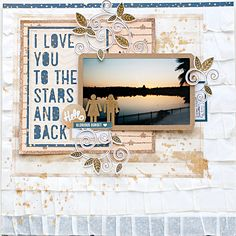 Disney Honeymoon Sunset - Scrapbook.com - Scrapbook the sunset photo from your honeymoon and include a man/woman embellishment to represent the happy couple.