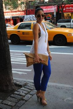 J Brand royal blue skinny pants, YSL Tribute sandals in nude, Alexander Wang white tank, Chanel gold necklace and aviators, American Apparel nude clutch, Topshop ring, MJ watch