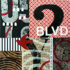 Original Mixed Media Abstract Collage by Kim Hambric - Boulevard via Etsy