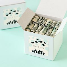 """Fun and useful idea for grads. Create """"diploma dollars"""" with rolled up bills tied with ribbon in their school colors. Free graduation templates at avery.com/graduation."""