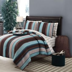 Aqua and Brown Bedding Set, Victoria Classics Joseph Comforter ♥ CLICK HERE TO BUY