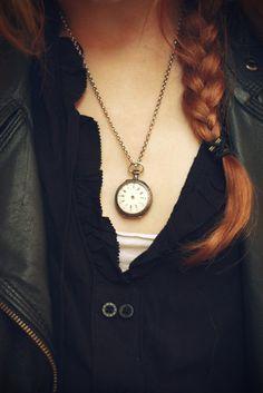 clock necklace.