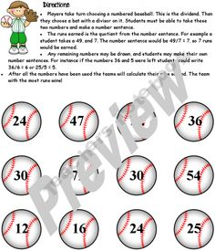 Division Fact Batting Practice