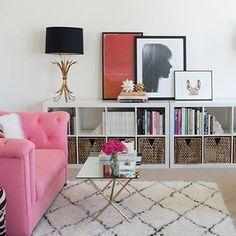 Living room shelving solution and art wall