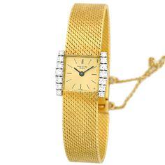 PATEK PHILIPPE Lady's Vintage 18K Yellow Gold Diamond Tank Watch