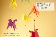 DIY Guirnalda de caballitos de Origami, en Cosas Molonas Blog // Origami Garland