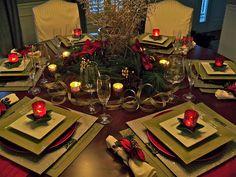 decorating blogs, christmas tables, christma decor, holidays, christma tablescap, round tables, tabl set, christmas table settings, holiday tables