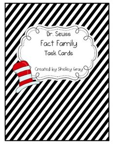 Dr. Seuss fact family cards- free for both addition/subtraction and multiplication/division