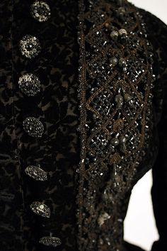 Mourning dress, ca. 1883, silk, jet