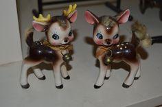 Vintage Reindeer Salt Pepper Shakers Japan Christmas Fuzzy Deer Buck Doe | eBay