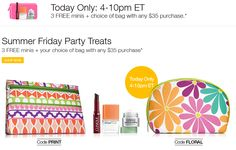 Hurry. 6 hours only. Spend $35 on Clinique website and choose FLORAL or PRINT cosmetics bag + also receive 3 minis.