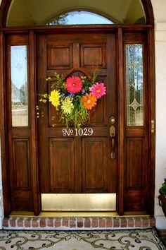 Spring Summer Front Door Decor - Flower Floral Wreath